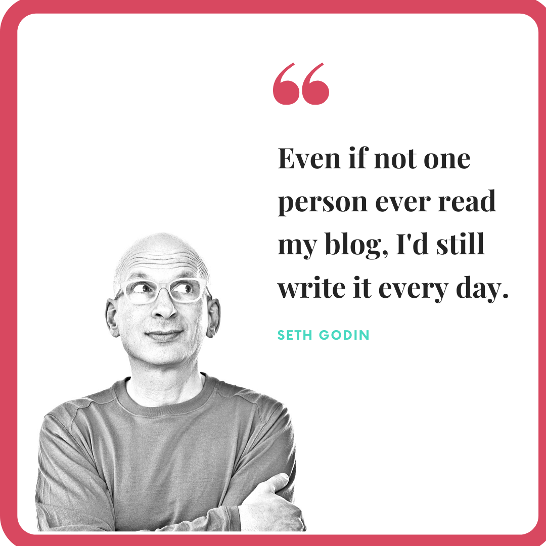 Seth Godin quote on writing a blog every day