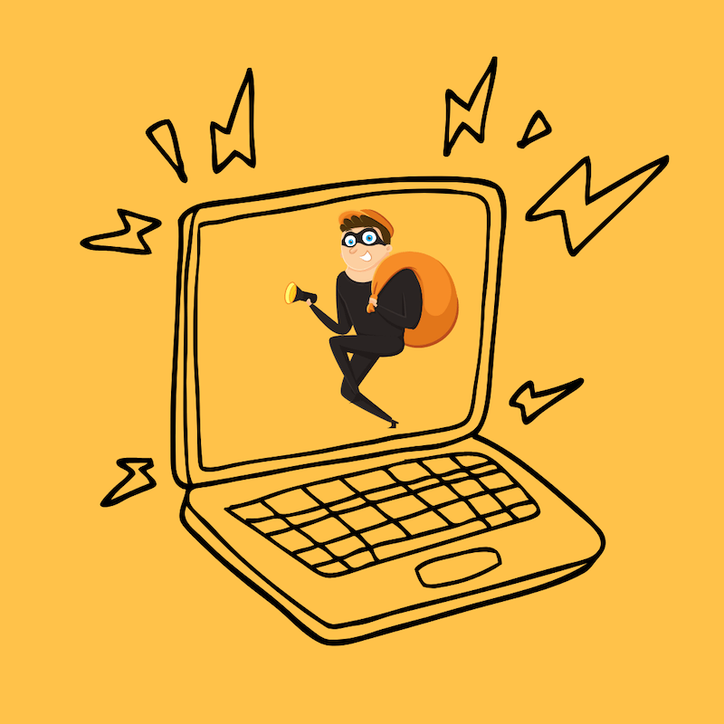 Cartoon Sketch of laptop with a thief on the screen