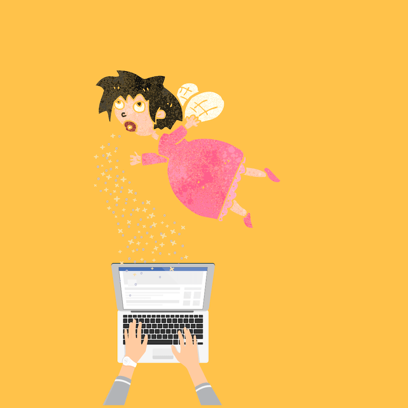 Fairy sprinkling fairy dust while flying over laptop