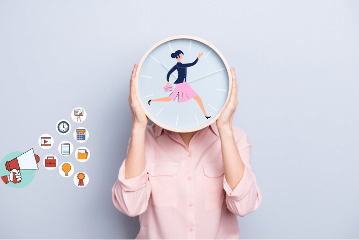 Woman holding clock with clockface of business woman running